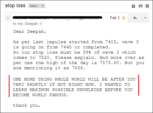 Compliment from my old subscriber and student on my Knowledge and analysis skills of Elliott Wave Theory.