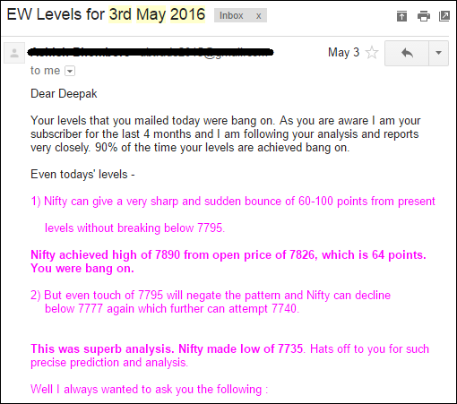 """Review on """"Elliott Wave Analysis of Nifty by Deepak Kumar"""" by subscriber after observing it for 04 months."""