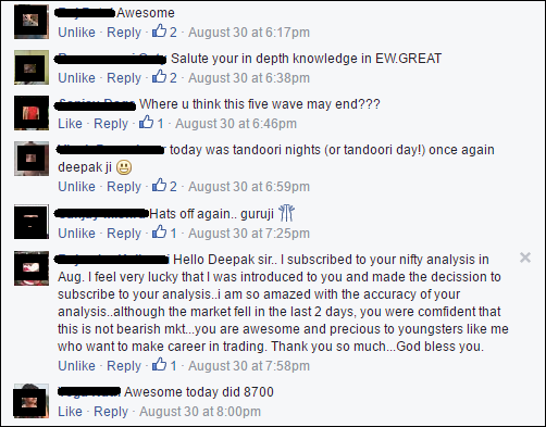 Comments from my followers on one of my post in Facebook Group.