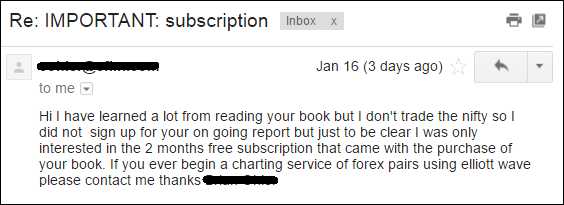 Feedback on book from a foreign subscriber