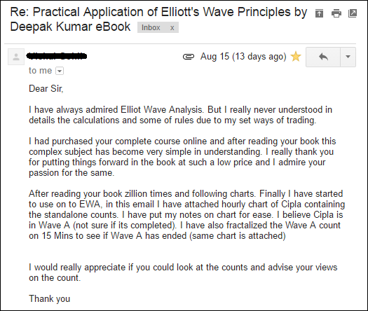 "A review on my book ""Practical Application of Elliott Wave Principles by Deepak Kumar"" and ""Elliott Wave Analysis Reports of Nifty"" by subscriber."