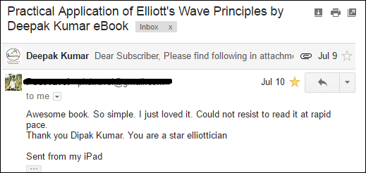 "A review on my book ""Practical Application of Elliott Wave Principles by Deepak Kumar"" by  subscriber from outside India."