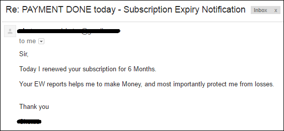 "Compliment by a subscriber on ""Elliott Wave Analysis Reports of Nifty"" by subscriber who further wish to extend service for 06 months."